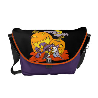 Cute birds halloween party illustration courier bag