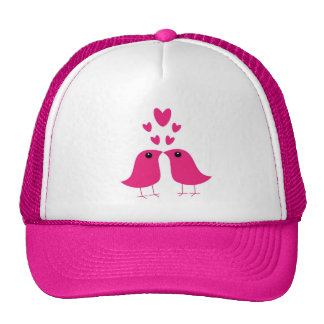 Cute birds love hearts pink hat, valentine gift