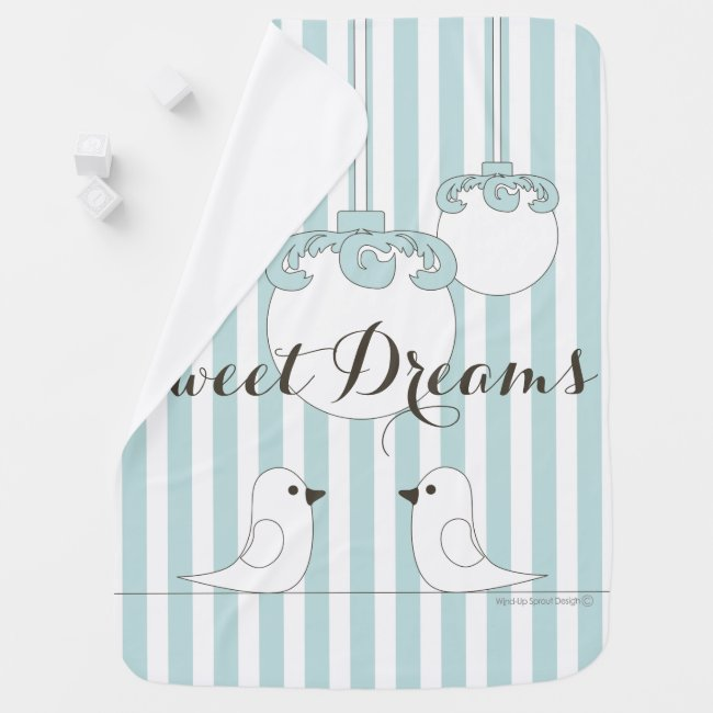 Cute Birds Modern Classic Baby Blue Striped