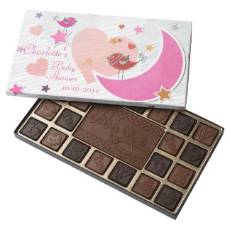 Cute Birds Moon and Stars Girl Baby Shower Assorted Chocolates