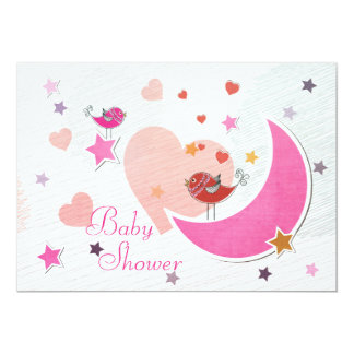 Cute Birds Moon and Stars Girl Baby Shower Card