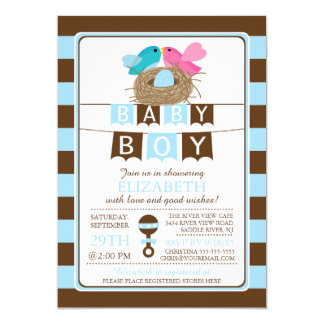 Cute Birds Nest Boys Baby Shower Invitation