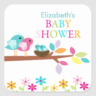 Cute Birds Nest Thank You Twins Baby Shower Square Square Sticker