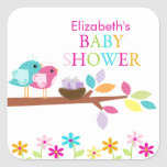 Cute Birds Nest Thank You Twins Baby Shower Square Sticker