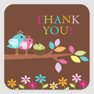 Cute Birds Nest Thank You Twins Baby Shower Square Square Stickers