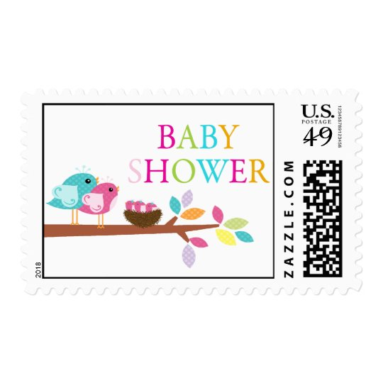 Cute Birds Nest Triplets Baby Shower Thank You Postage