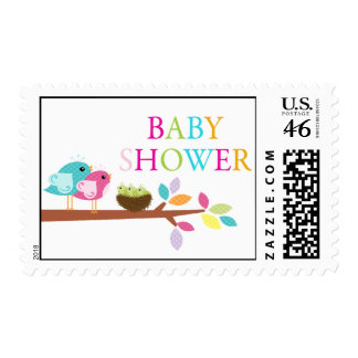 Cute Birds Nest Triplets Baby Shower Thank You Postage Stamps