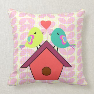 Cute birds- new home throw pillow