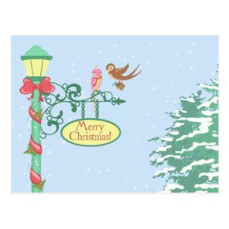 Cute Birds on Lamppost Postcard
