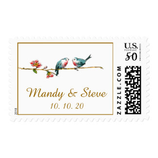 Cute Birds Save the Date Postage Stamps