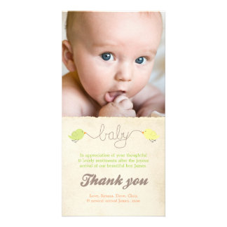 Cute Birds Thank You Baby Photo Card Template