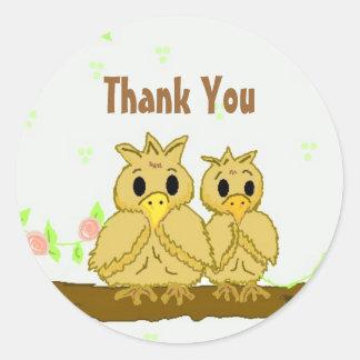 Cute Birds Thank You Classic Round Sticker