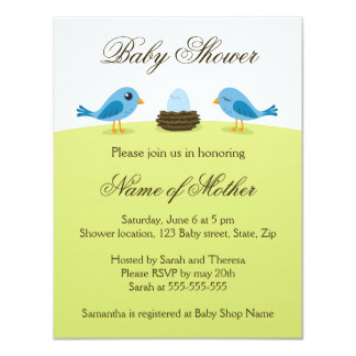 Cute birds with blue egg baby shower invitation