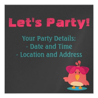Cute Birds with Shades Dancing & Partying Personalized Announcement