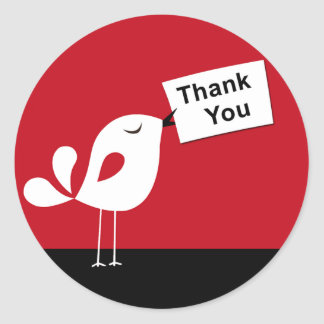 Cute Birdy Thank You Sticker (red)