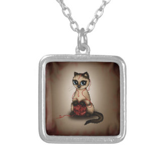 cute Birman cat Square Pendant Necklace