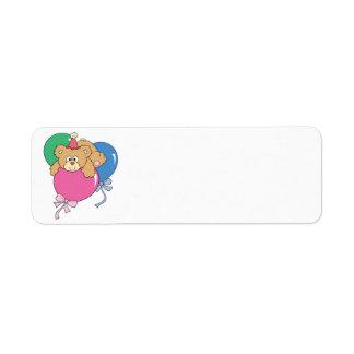 Cute Birthday Balloon Bear Return Address Label