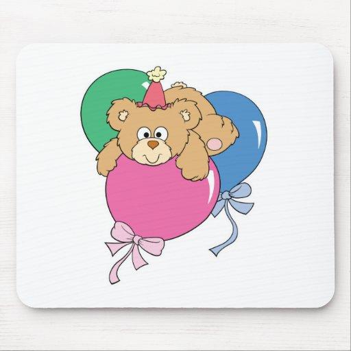 Cute Birthday Balloon Bear Mouse Pad