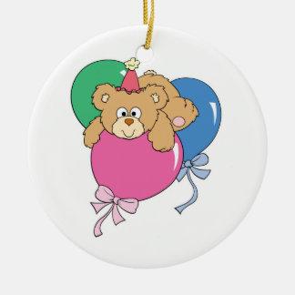Cute Birthday Balloon Bear Double-Sided Ceramic Round Christmas Ornament