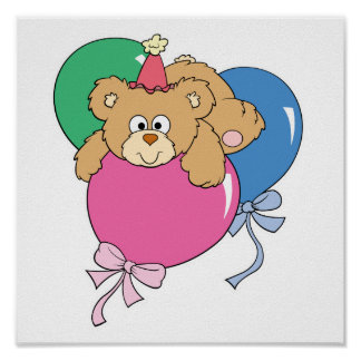 Cute Birthday Balloon Bear Print
