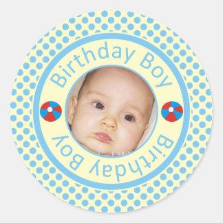 Cute Birthday Boy Blue Polka Dots Photo Stickers