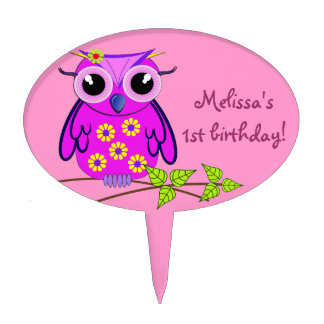 Cute Birthday Cake topper with Owl and Text