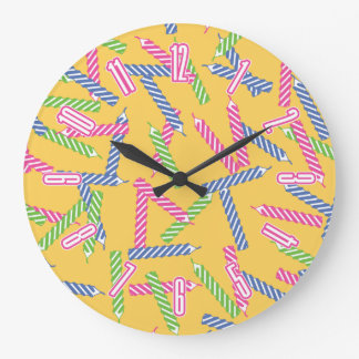 Cute Birthday Candle Pattern Large Clock