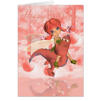 Cute Birthday card, pink dragon and fairy Greeting Card