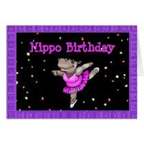 Cute Birthday Card with Hippo Ballerina