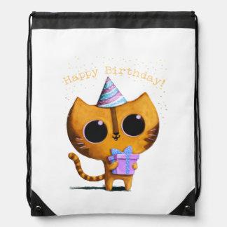 Cute Birthday Cat Drawstring Bag