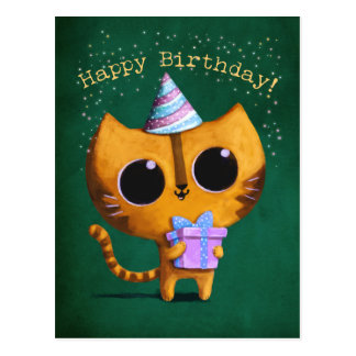 Cute Birthday Cat Postcard