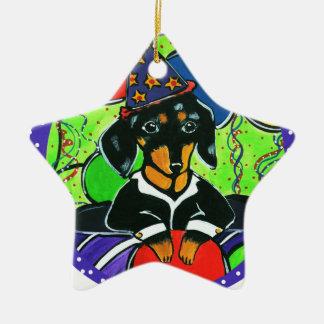 Cute Birthday Dachshund Ceramic Ornament