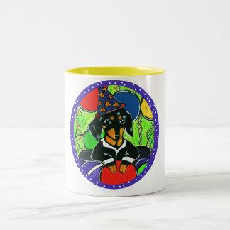 Cute Birthday Dachshund Two-Tone Coffee Mug