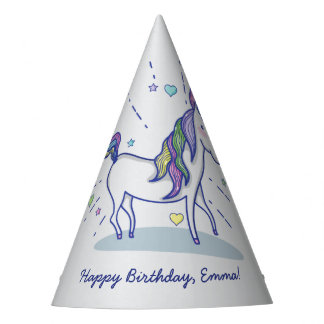 Cute Birthday Doodle Rainbow Unicorn Stars Hearts Party Hat