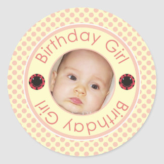 Cute Birthday Girl Pink Polka Dots Photo Stickers