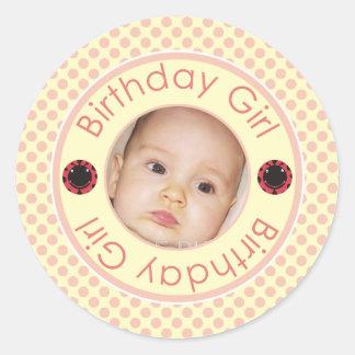 Cute Birthday Girl Pink Polka Dots Photo Stickers