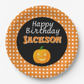 Cute Birthday Halloween Paper Plates