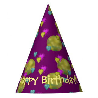 Cute Birthday Hearts Planets Purple Party Hat