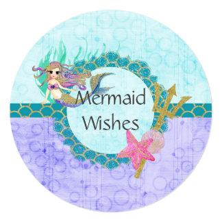 Cute Birthday Mermaid Teal & Purple Mermaid Wishes Card