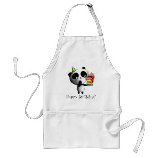 Cute Birthday Panda with Cake Adult Apron