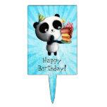 Cute Birthday Panda with Cake Cake Picks