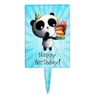 Cute Birthday Panda with Cake Cake Topper