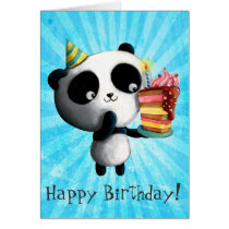 Cute Birthday Panda with Cake Card