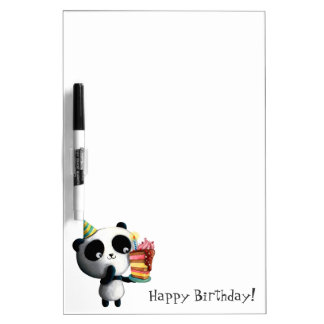 Cute Birthday Panda with Cake Dry-Erase Board