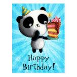 Cute Birthday Panda with Cake Post Cards