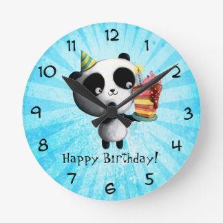 Cute Birthday Panda with Cake Round Clock