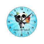 Cute Birthday Panda with Cake Round Wallclocks