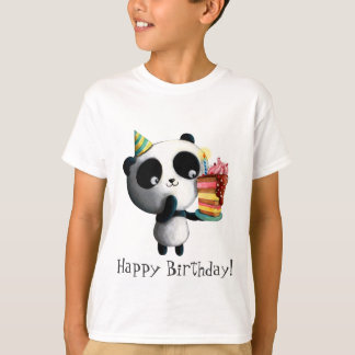 Cute Birthday Panda with Cake T-Shirt