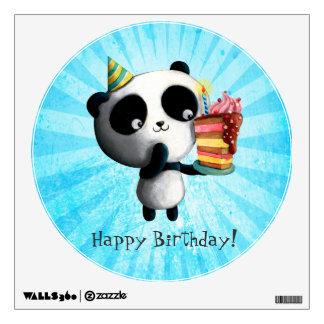 Cute Birthday Panda with Cake Wall Graphic