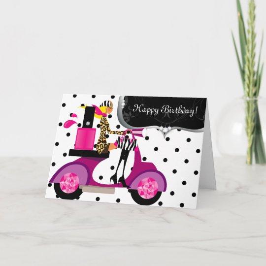 Cute Birthday Party Nail Polish Scooter Girl Dots Card Zazzle